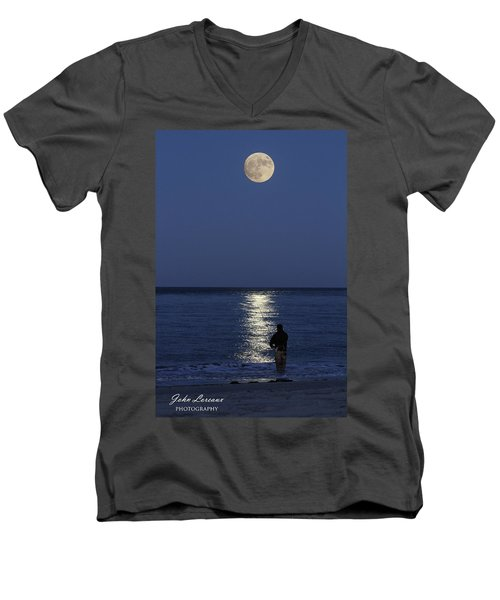 By The Light Of The Supermoon Men's V-Neck T-Shirt by John Loreaux