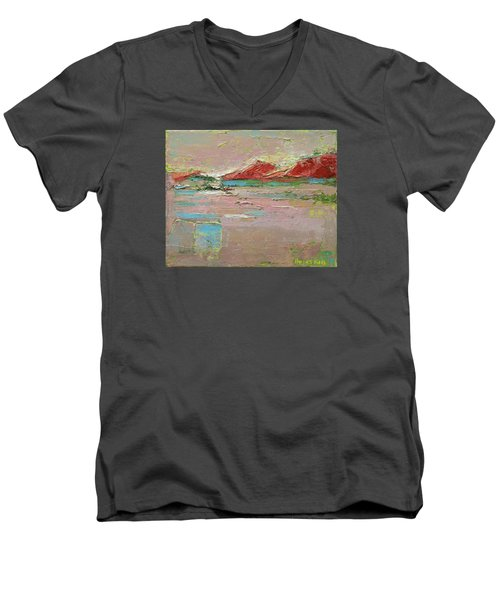 By The River Men's V-Neck T-Shirt by Becky Kim
