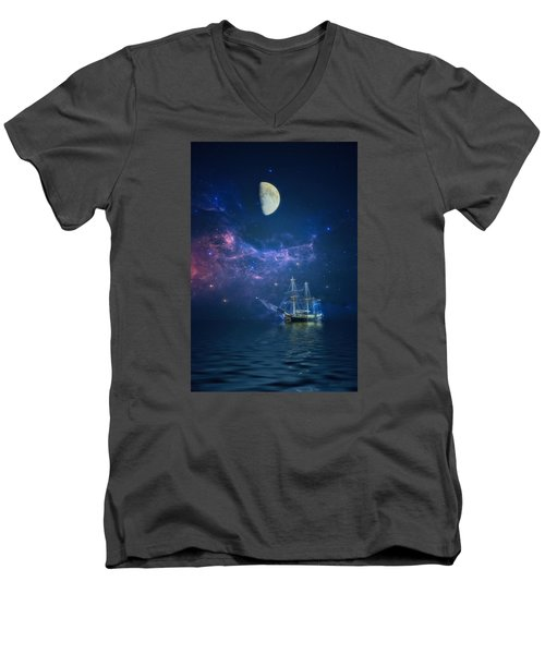 By Way Of The Moon And Stars Men's V-Neck T-Shirt by John Rivera