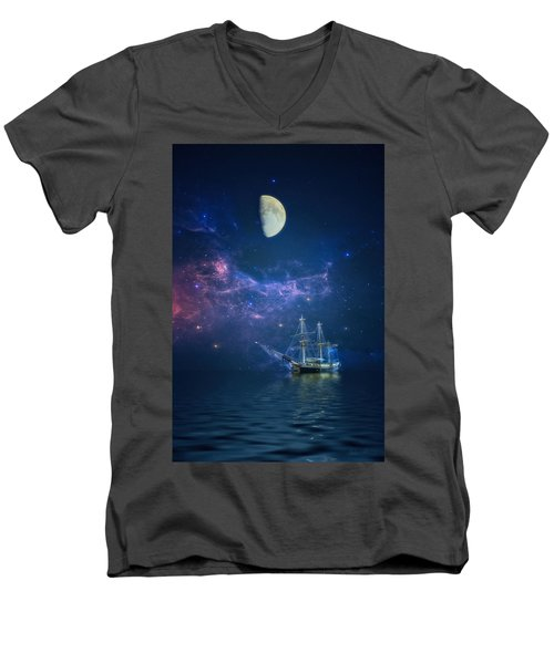 By Way Of The Moon And Stars Men's V-Neck T-Shirt