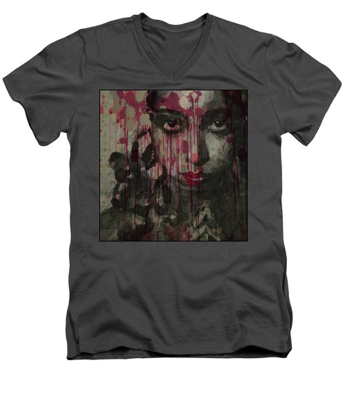 Men's V-Neck T-Shirt featuring the painting Bye Bye Blackbird by Paul Lovering