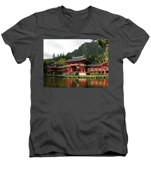 Men's V-Neck T-Shirt featuring the photograph Byodo-in Temple, Oahu, Hawaii by Mark Czerniec