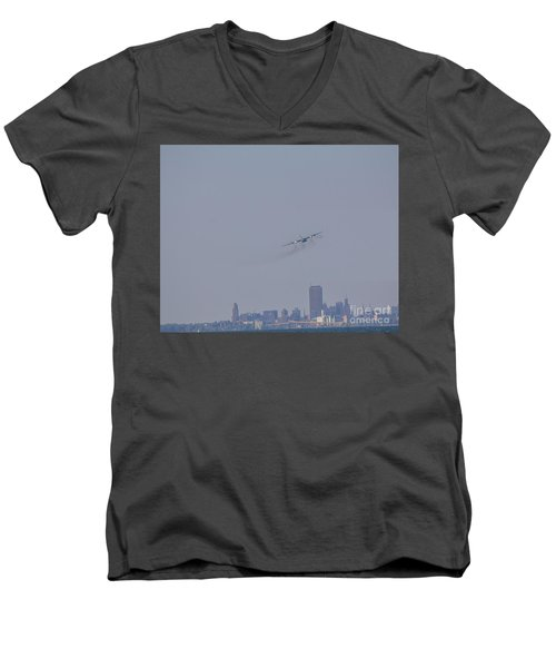 Men's V-Neck T-Shirt featuring the photograph C130 Over Buffalo by Jim Lepard