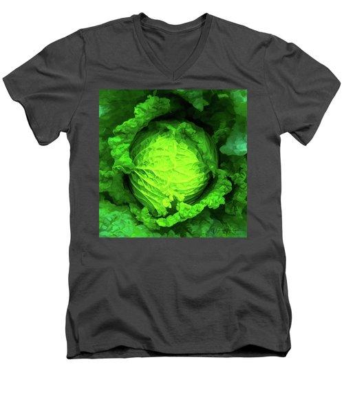 Cabbage 02 Men's V-Neck T-Shirt by Wally Hampton