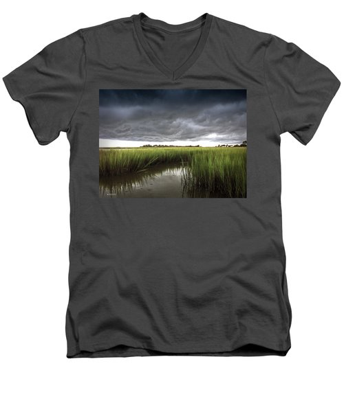 Men's V-Neck T-Shirt featuring the photograph Cabbage Inlet Cold Front by Phil Mancuso