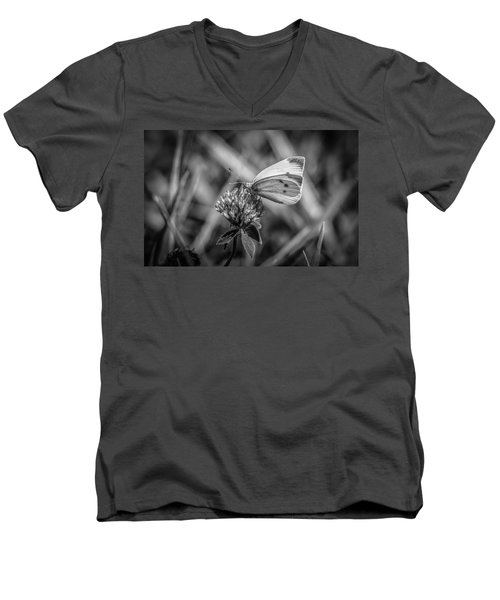 Cabbage White In Gray Men's V-Neck T-Shirt by Ray Congrove