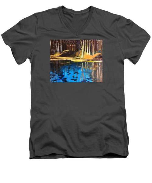 Men's V-Neck T-Shirt featuring the painting Cabin #2 by Jane Croteau