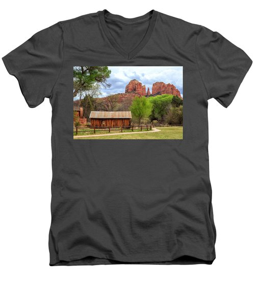Men's V-Neck T-Shirt featuring the photograph Cabin At Cathedral Rock by James Eddy