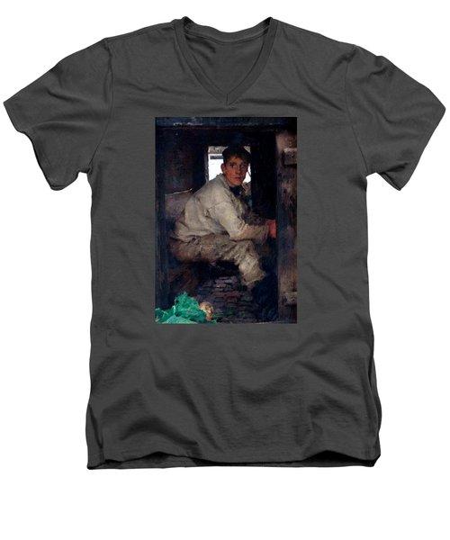 Cabin Boy Men's V-Neck T-Shirt by Henry Scott Tuke