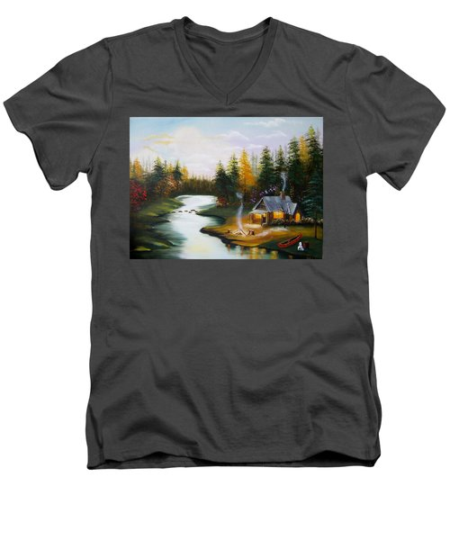 Cabin By The River Men's V-Neck T-Shirt