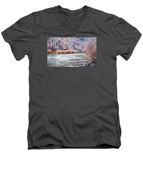 Men's V-Neck T-Shirt featuring the photograph Cabin By The River In Steamboat,co by James Steele