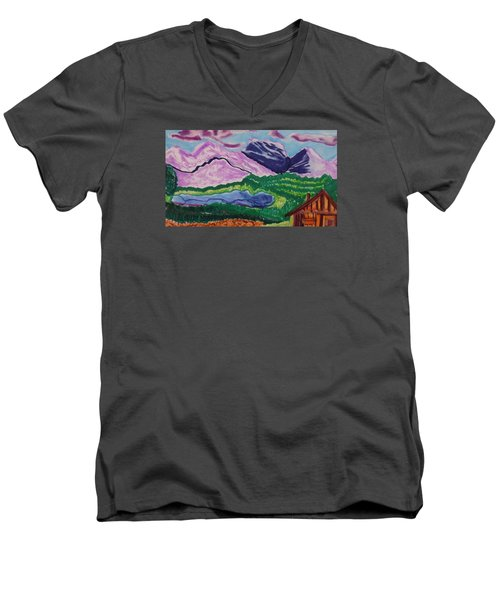 Cabin In The Mountains Men's V-Neck T-Shirt