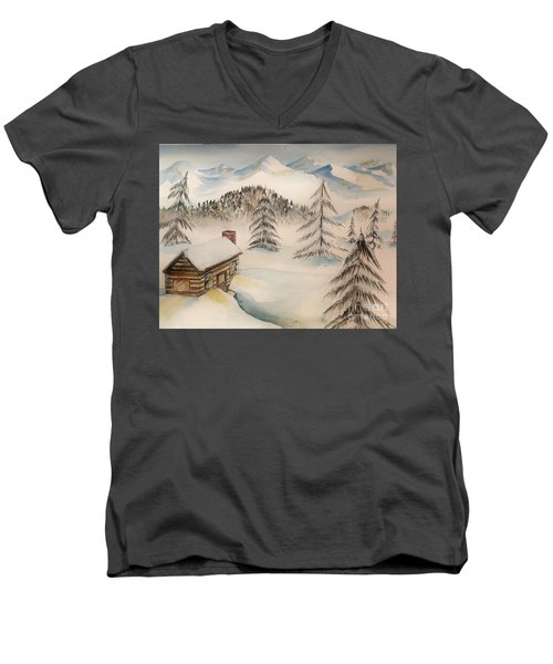 Cabin In The Rockies Men's V-Neck T-Shirt