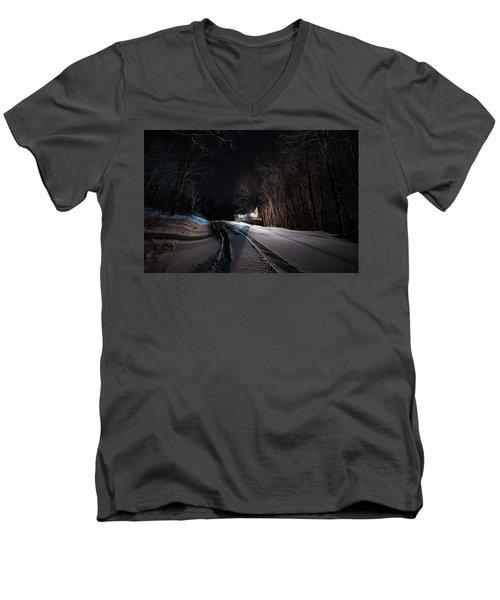 Cabin In The Winter Men's V-Neck T-Shirt