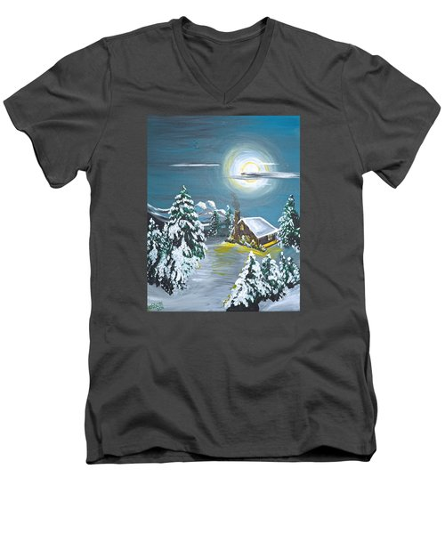 Cabin In The Woods Men's V-Neck T-Shirt by Donna Blossom