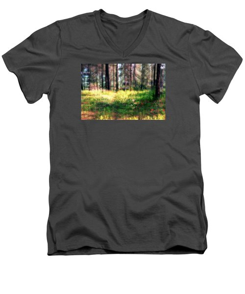 Men's V-Neck T-Shirt featuring the photograph Cabin In The Woods In Menashe Forest by Dubi Roman