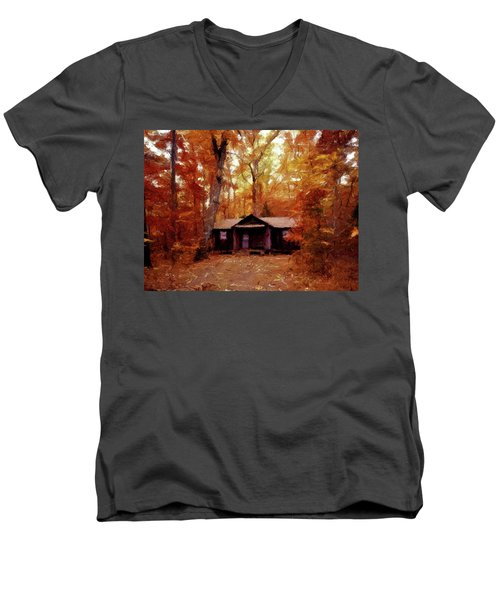 Men's V-Neck T-Shirt featuring the painting Cabin In The Woods P D P by David Dehner