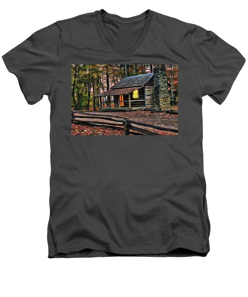 Men's V-Neck T-Shirt featuring the painting Cabin Light by Harry Warrick