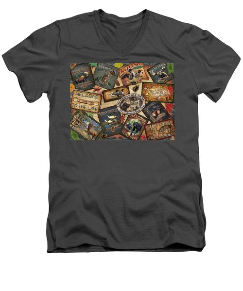 Men's V-Neck T-Shirt featuring the painting Cabin Sign Collage by Cynthie Fisher JQ Licensing