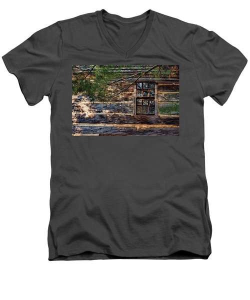 Men's V-Neck T-Shirt featuring the photograph Cabin Window by Joanne Coyle