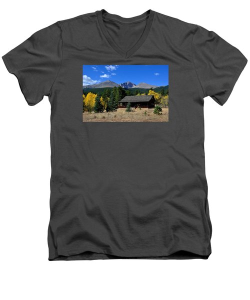Cabin With A View Of Long's Peak Men's V-Neck T-Shirt