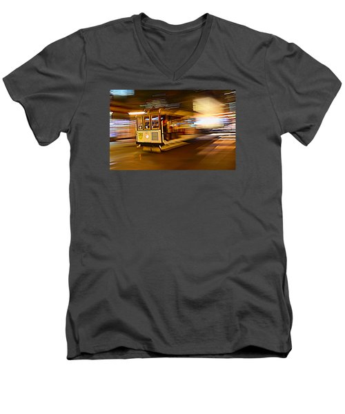 Men's V-Neck T-Shirt featuring the photograph Cable Car At Light Speed by Steve Siri
