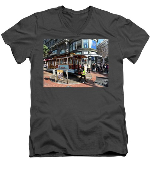Cable Car At Union Square Men's V-Neck T-Shirt by Steven Spak