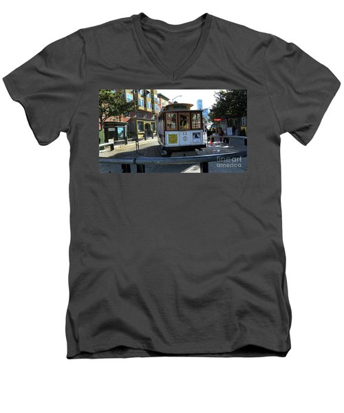 Cable Car Turnaround Men's V-Neck T-Shirt by Steven Spak
