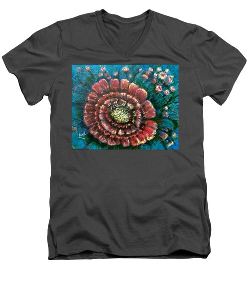 Men's V-Neck T-Shirt featuring the painting Cactus # 2 by Laila Awad Jamaleldin
