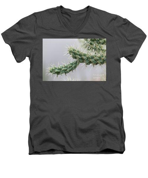Cactus Branch With Wet White Long Needles Men's V-Neck T-Shirt