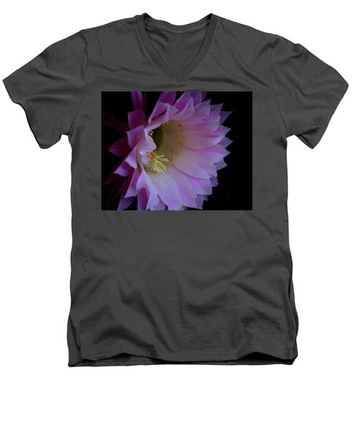 Cactus Easter Lily Bright Men's V-Neck T-Shirt by Marna Edwards Flavell