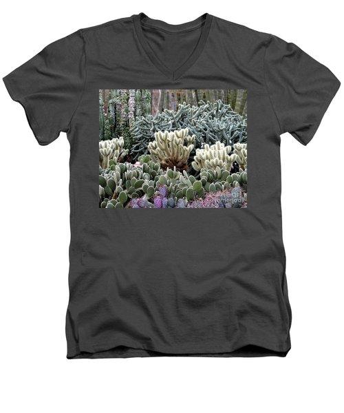 Cactus Field Men's V-Neck T-Shirt by Rebecca Margraf