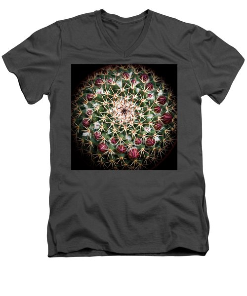 Men's V-Neck T-Shirt featuring the photograph Cactus  Flower by Catherine Lau