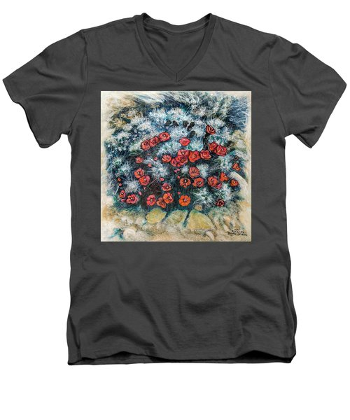 Cactus Flower Men's V-Neck T-Shirt by Ron Richard Baviello