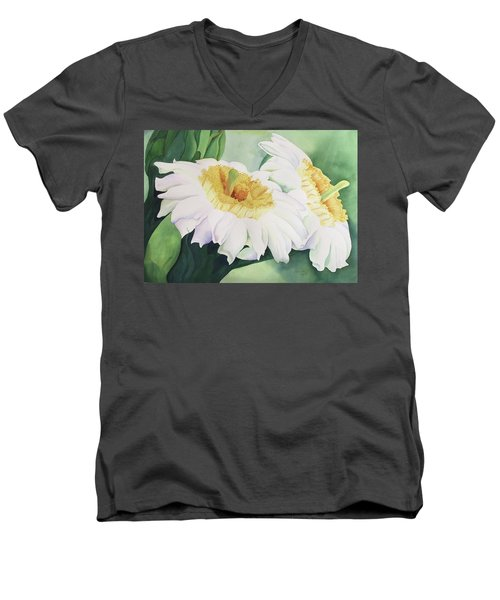 Men's V-Neck T-Shirt featuring the painting Cactus Flower by Teresa Beyer