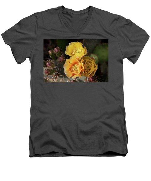 Yellow Cactus Flowers Men's V-Neck T-Shirt