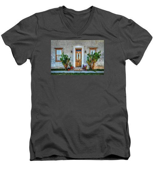 Men's V-Neck T-Shirt featuring the photograph Cactus Guards by Ken Smith