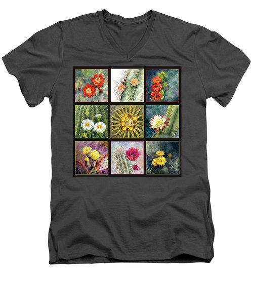 Men's V-Neck T-Shirt featuring the painting Cactus Series by Marilyn Smith