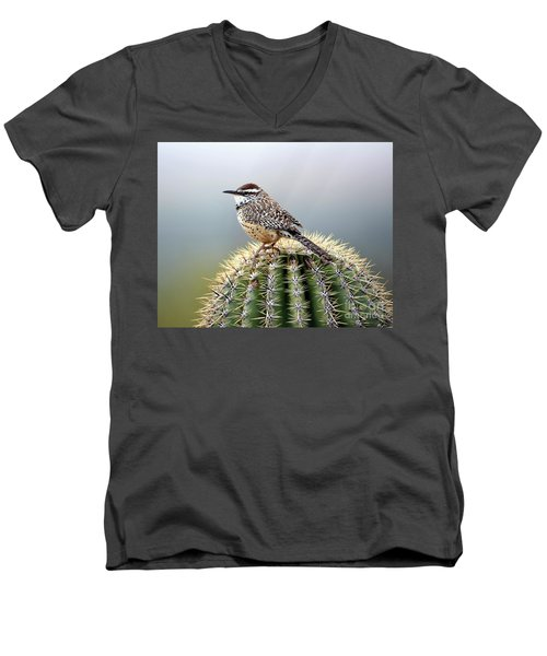 Cactus Wren On Saguaro Men's V-Neck T-Shirt