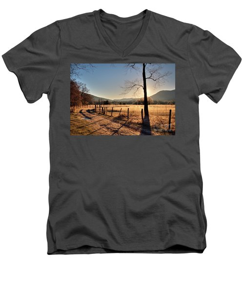 Men's V-Neck T-Shirt featuring the photograph Cades Cove, Spring 2017,i by Douglas Stucky