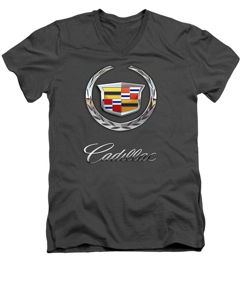 Cadillac - 3 D Badge On Red Men's V-Neck T-Shirt