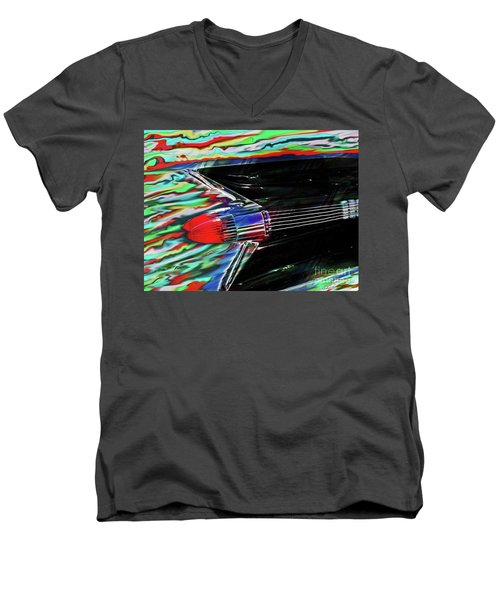 Cadillac Tail Fin Guitar Fantasy Men's V-Neck T-Shirt by Patricia L Davidson