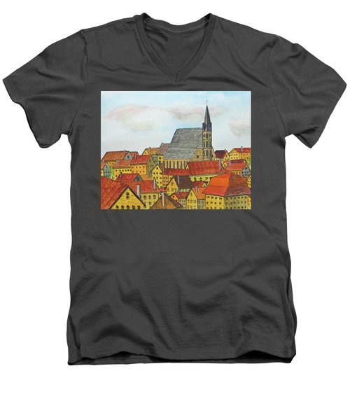 Cesky Krumlov Men's V-Neck T-Shirt by Jack G Brauer