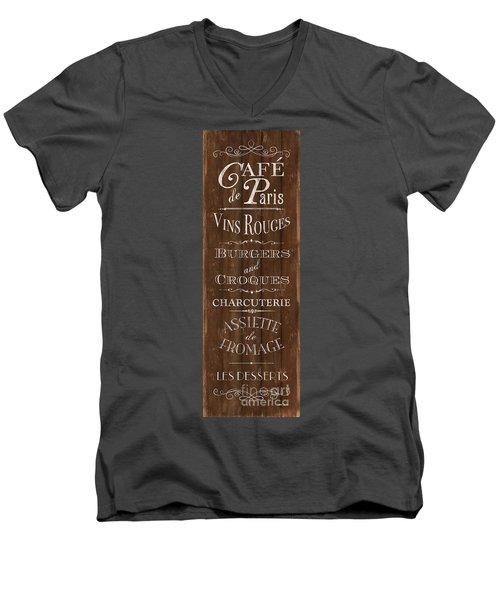 Men's V-Neck T-Shirt featuring the painting Cafe De Paris 1 by Debbie DeWitt