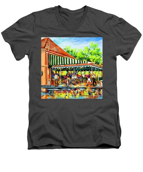 Men's V-Neck T-Shirt featuring the painting Cafe Du Monde Lights by Dianne Parks