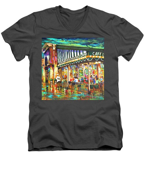 Men's V-Neck T-Shirt featuring the painting Cafe Du Monde Night by Dianne Parks