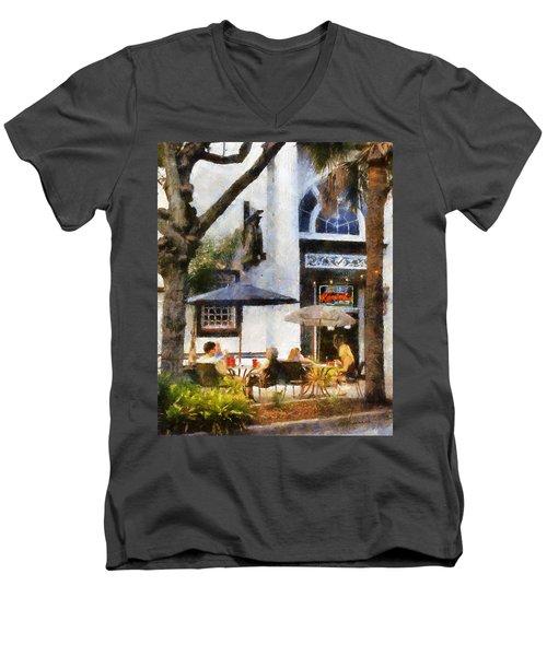 Cafe Men's V-Neck T-Shirt by Francesa Miller