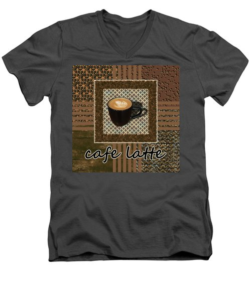 Men's V-Neck T-Shirt featuring the photograph Cafe Latte - Coffee Art - Caramel by Anastasiya Malakhova