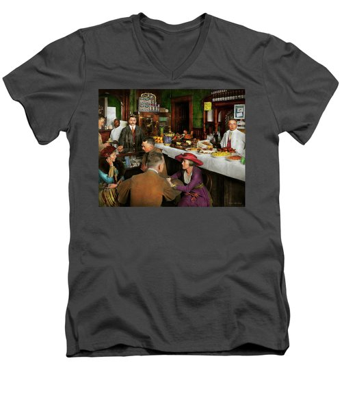 Men's V-Neck T-Shirt featuring the photograph Cafe - Temptations 1915 by Mike Savad
