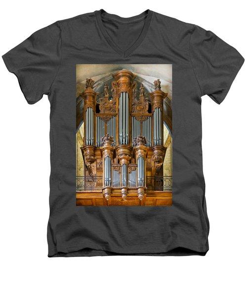 Cahors Cathedral Organ Men's V-Neck T-Shirt
